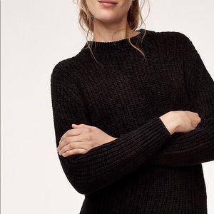 Aritzia Wilfred Black Essential Chenille Sweater